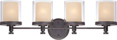 decker four light bathroom fixture with clear and cream glass in