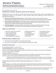 Example Resume For A Job by Substitute Teacher Resume Berathen Com