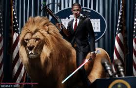 obama riding a lion by sharpwriter on deviantart