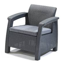shop keter corfu gray rattan patio conversation chair at lowes com