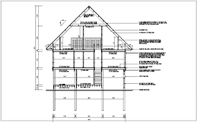 side elevation elevation section view of bungalow detail dwg file