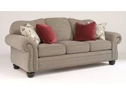 Flexsteel Curved Sofa by Flexsteel One Tone Fabric Sofa With Nailhead Trim 8648 31