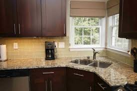 wooden kitchen counter cream granite countertop brown wooden