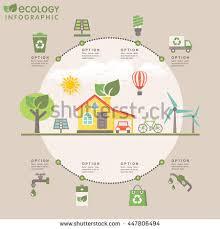 House Flat Design Flat Design Modern Infographic Ecology Concept Stock Vector