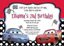 2nd Birthday Invitation Card Disney Cars Birthday Invitations Kawaiitheo Com