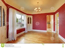 Dining Room Built Ins Empty Red Dining Room Interior With Built In Cabinets Stock Photo