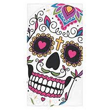 Skull Bathroom Accessories by Amazon Com Custom Sugar Skull Bath Towel Beach Bathroom Body