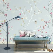 wallpaper light blue color and red floral design wall mural on the