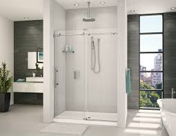 graceful white bathroom with in line shower door by fleurco k2