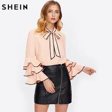 blouse band shein bow neck wave lace trim layered flare sleeve blouse autumn