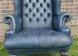 Queen Anne Wingback Chair Leather Chesterfield Flat Wing Queen Anne High Back Fireside Chair Antique