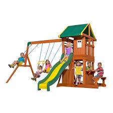 gorilla playsets treasure trove ii swing set with timber shield