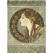 pattern art pdf counted cross stitch pattern mucha lady laurel art nouveau pdf