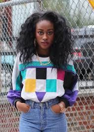90s hoop earrings shirt colorful 90s style curly hair hair