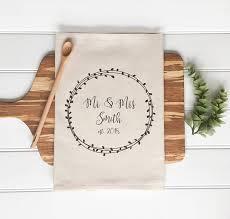 customized wedding gift personalized tea towel custom wedding gift housewarming gift