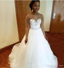 long sleeves plus size wedding dresses cheap 2017 arabic african