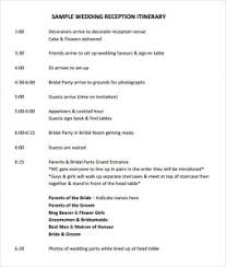 wedding reception itinerary wedding itinerary template template business