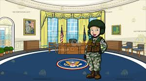 a female tank operator at the oval office cartoon clipart vector