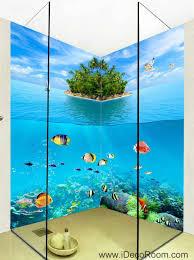 3d wallpaper undersea fish island wall murals bathroom decals wall