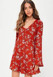 sleeve dress floral button flared sleeve skater dress missguided