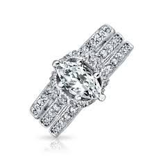 necklace wedding ring images Marquise pave cz engagement wedding ring set 925 sterling silver jpg