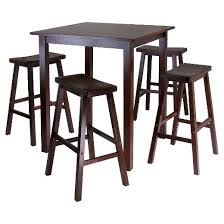 5 piece parkland set high table with saddle seat bar stools wood
