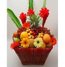 flower fruit flowers with mix fruit basket