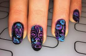 sugar skull nail art with moyou stamping plates and kaleidoscope