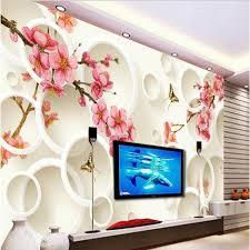 wallpaper bunga lingkaran beibehang wallpaper kustom besar ruang 3d bunga persik bunga