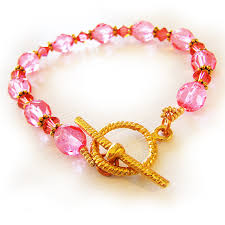 pink glass bead bracelet images Swarovski and glass beads bracelet in candy pink and coral shop jpg