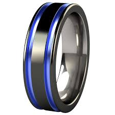 titanium colored rings images Black and blue men 39 s wedding band abyss black diamond plated png