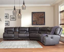 Ashley Recliners Mccaskill Collection U60900 100 Genuine Leather Sectional With