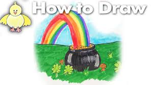 drawing how to draw a pot of gold at the end of the rainbow youtube