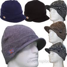 dickies beanie hat billed knit cap w cuff layered visor