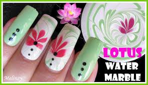 lotus flower water marbling summer nail art design tutorial using