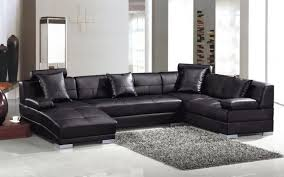 Black And Silver Rug Furniture Exclusive Genuine Leather Sectional Sofa With Black