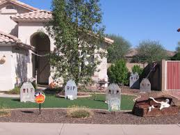 easy outdoor halloween decorations with brown wooden coffin
