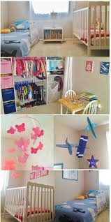 shared toddler boy and baby room shared closet pink and blue