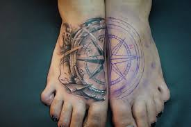 map and compass tattoos on feet in 2017 real photo pictures
