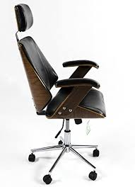 desk chair with headrest charles jacobs luxury retro office chair in black faux leather with