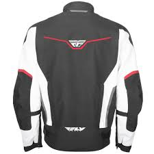 red and black motorcycle jacket fly street strata jacket black white red get lowered cycles