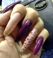 pointed acrylic nails purple u0026 beige with gold glitter gold