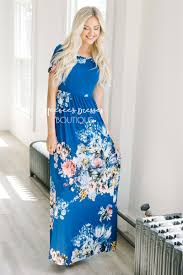 royal blue floral summer maxi modest dress best and affordable
