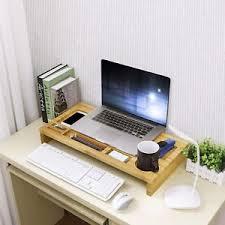 Laptop Stand Desk Bamboo Monitor Riser Laptop Stand Desk Organizer Computer Shelf