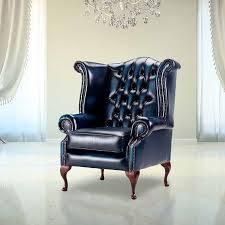Queen Anne Wingback Chair Antique Blue Chesterfield Queen Anne Wing Chair Designersofas4u