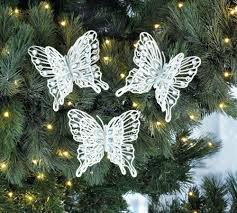 white gem butterfly christmas ornament set wholesale at koehler