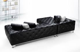 jazz modern black tufted leather sectional sofa
