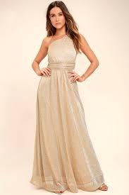 lovely gold dress one shoulder dress maxi dress