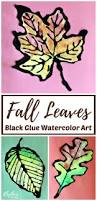 fall leaves black glue watercolor resist art rhythms of play