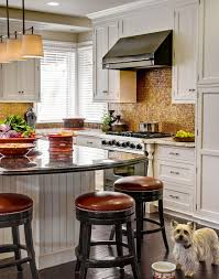 kitchen copper backsplash with open storage also gas range